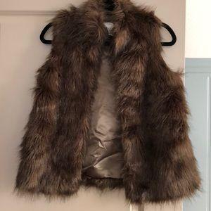 Brown faux fair vest